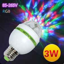 3W E27 RGB Crystal Ball Rotating LED Stage Light Bulbs Disco DJ Party Bulb Lamp