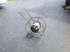 ANTIQUE FIREHOSE FIREFIGHTING REEL METAL GALVANIZED DRUM MALE & FEMALE BRACKETS