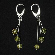 POLISHED LEMON Color BALTIC AMBER EARRINGS Silver plated