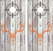 Deer Skull Hunting wood Cornhole Board Skin Wrap Decal -LAMINATED