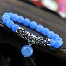 8MM natural Blue jade Tibet silver bracelet  Original Carved Beaded Big beads