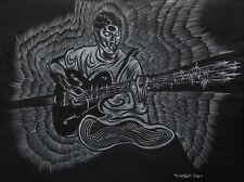 WHITE CHARCOAL DRAWING ON BLACK PAPER GUITARIST ARTWORK ART ILLUSTRATION
