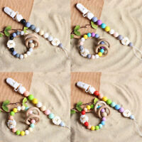 Sheep Silicone Beads Dummy Pacifier Chain Clip Holder Baby Teething Bracelet Toy