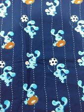 Blues Clues Fabric Material Craft Quilt Sports Football Soccer Baseball Rare
