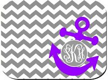 MOUSE PAD GRAY CHEVRON PURPLE ANCHOR CUTE MONOGRAMMED PERSONALIZED