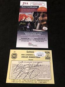 1985 Star SCHICK #21 Oscar Robertson SIGNED AUTO BUCKS HOF JSA CERT MINT!!