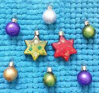 Weihnachtsschmuck Christbaumschmuck 6 Kugeln 2 Sterne Glimmer christmas tree