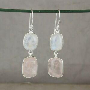 Natural Moonstone Rose Quartz Gemstone 925 Sterling Silver Dangle Earrings