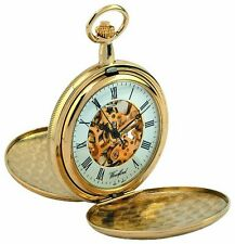 Double Hunter Pocket Watch Gold Plated Pocket Watch Mens Pocket Watches