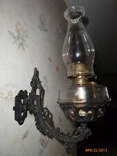 Antique Wall Hanging Cast Iron Bracket Kerosene Oil Lamp