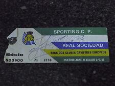 European Cup 1982/83 - Sporting C.P. / Real Sociedad - Used Ticket Stub