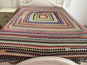 Handmade Colourful Crochet Stripe Queen/King Bedcover Acrylic Granny