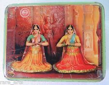 VintageTin Sweet box Dancing female traditional costume Architect back India1970