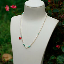 164#Mini AAAA freshwater Pearl W/Turquoise/silver heart/Shell flower necklace