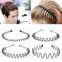 Fashion Mens Womens Sports Wave Hair Band Unisex Metal Black Curve Hoop Headband