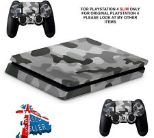 GREY CAMO PS4 SLIM**TEXTURED VINYL ! **PROTECTIVE SKINS DECALS WRAP STICKERS