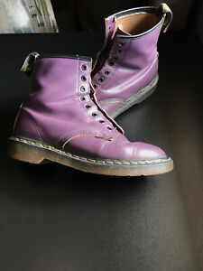 DOC DR. MARTENS PURPLE LEATHER BOOTS MADE IN ENGLAND RARE VINTAGE UNISEX Sz 7