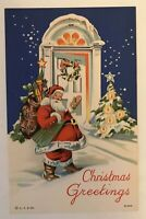 Vintage Linen Christmas Postcard Santa Claus at Door with Toys-Curt Teich-c413