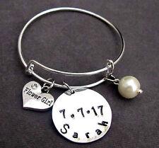 Flower Girl Bridesmaid Bracelet,Wedding Date and Name Bangle,Wedding Gift Bangle