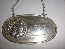 Vintage Rye Decanter Bottle Label Sterling Silver