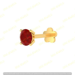 3 MM Solitaire Red Ruby Women's Lip Labret Monroe Screw Nose Pin Stud 14k Gold