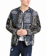 Sun + Stone Mens Jacket Blue Black Size XL Bandana Print Front-Zip $100 206