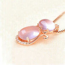 Crystal Shining Opal Stone Cat Pendant Necklace Rose Gold Plated Chain Necklace
