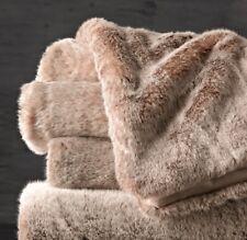 "Restoration Hardware Luxe Faux Fur Throw, 60""x80"" Reversible-Lynx"