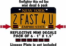 6 PACK THIN RED LINE LICENSE PLATE DECALS STICKERS FIRE DEPT RESCUE CAR TAG RED