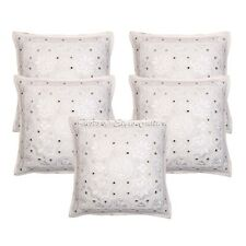 Indian Cotton Embroidered Sofa Cushion Cover White Mirrored Pillow Cover