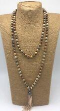 Fashion gemstone long knot picture jasper Necklace crystal tassel woman jewelry