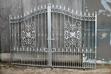 GALVANIZED DOUBLE WROUGHT IRON DRIVEWAY GATES 10 ft   wide