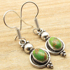 Models Earrings, Green Copper Turquoise 925 Silver Plated Modern Girls Fashion