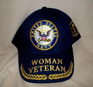 Woman Navy Veteran Ballcap with Gold Braid.  100% Cotton