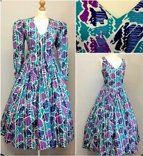 Laura Ashley Authentic 80s Vintage Purple Mix Victorian Dress & Jacket UK 12/14