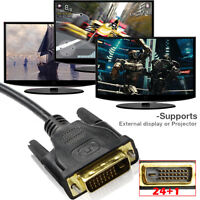 DVI DVI-D Dual Link 24+1 Male to Male Cable Adapter Gold Plated with Ferrites