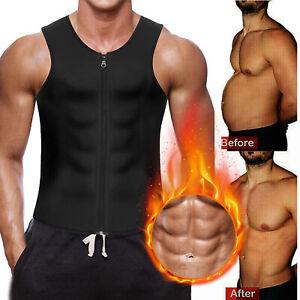Men's Sweat Waist Trainer Zip Vest Weight Loss Top Neoprene Body Shaper Slimming