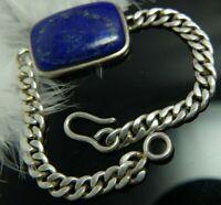 "Vintage Lapis Unisex 0.925 Sterling Silver 8 1/2"" x 1/4"" Men's Bracelet"