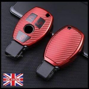 Red Carbon Fibre Key Cover For Mercedes CLA CLS SLC GLA GLC GLE 3 Button t70cf*