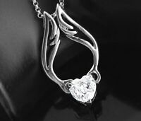 """18K White Gold Angel Heart Necklace Made with Swarovski Elements 17"""" to 19"""""""