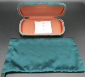 NEW Gucci Green Velvet Large Eyeglasses Case W/ Dust Cover And Cloth