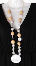 Tolle lange Halskette Kette mit Perlmutt-Scheiben u. großen Perlen beige