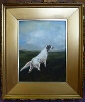 Vintage Old Shooting Dog Canine gold framed Oil Painting Spaniel signed Covy