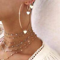 3Pcs/Set Women Gold Love Heart Earrings Hoop Big Round Pendant Charm Jewellery