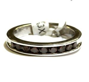 New 925 Sterling Silver .50ct red diamond channel band ladies ring 3.9g womens