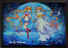 Pretty Soldier Sailor Moon Starry Night Poster Print Nursery Wall Decor A094
