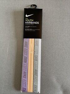 NEW 3 Pack Printed Nike Youth Headband Sports Hairband Running Hair Grip