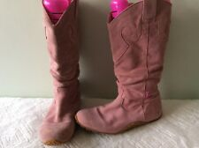KICKERS real suede ladies pink flat pull on slouchy boot size 5/38