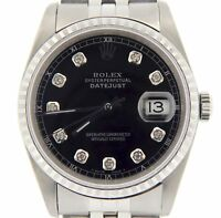 Rolex Datejust Mens Stainless Steel Jubilee Band Black Diamond Dial Watch 16220