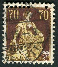 Svizzera - 1908 - cent. 70  Helvetia seduta - doppia dentellatura in alto